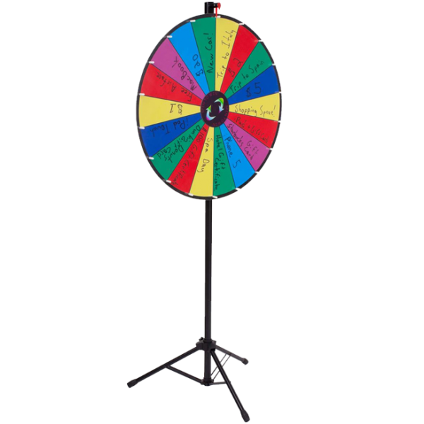 Floorstanding-Multi-Color, Adjustable Write-on Prize Wheel with 18 Slots
