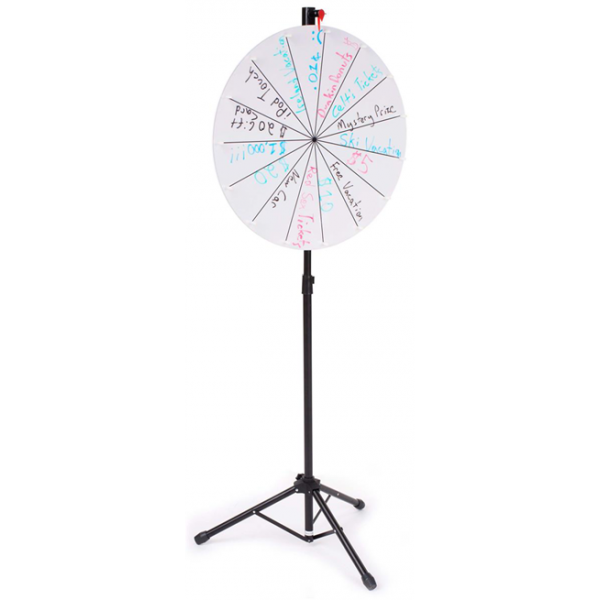Floorstanding-White-Color, Adjustable Write-on Prize Wheel with 14 Slots