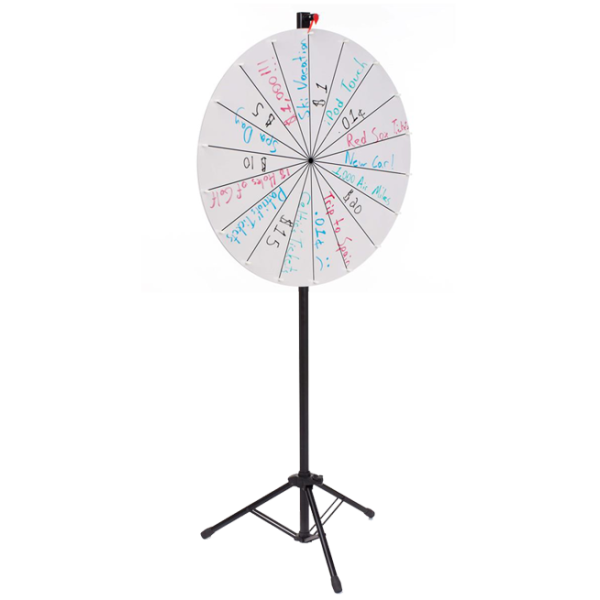 Floorstanding-White-Color, Adjustable Write-on Prize Wheel with 18 Slots