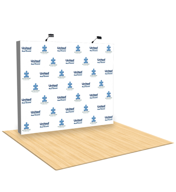 10Ft Straight Fabric Pop UP Step & Repeat Backdrop 1