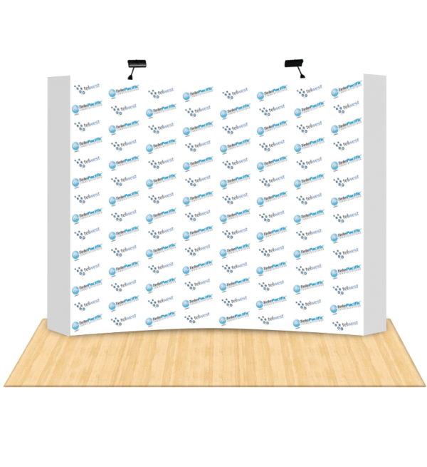 8Ft Curved Fabric Pop Up Step & Repeat Backdrop