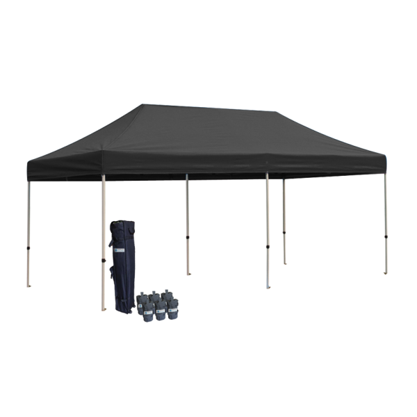 10' W X 20' H Canopy Tent With Aluminum Frame 40mm (Commercial Grade) - Black